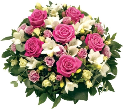 Pink and White Rose Posy Pad